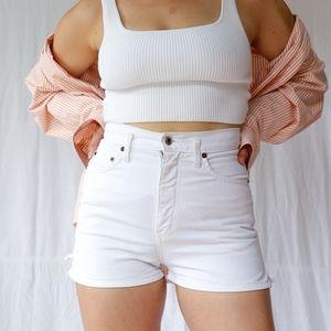 Vintage white high waist basic denim shorts